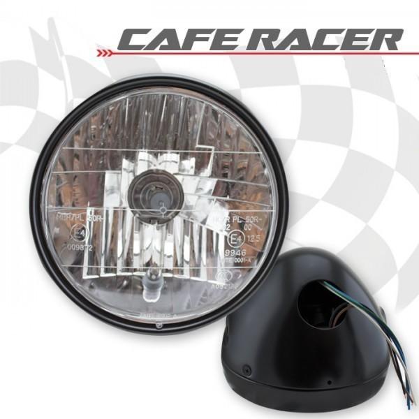 """Přední hlavní světlo CAFE RACER, 6 1/2"""" čiré s parkovacím světlem, H4, černé"""