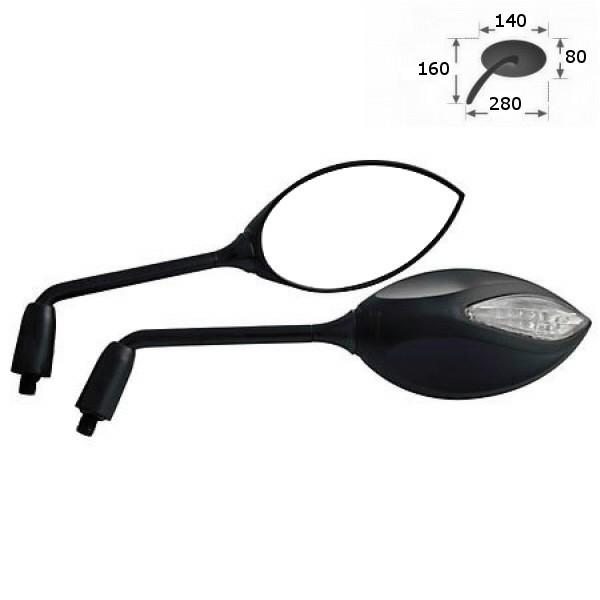 Zrcátka STRATO 2 s LED blinkry, plastová, černá, závit M10 2x pravý, (pár - 2ks)