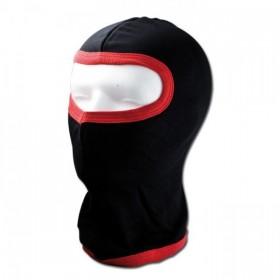 Bavlněná kukla pod helmu, černá s červeným lemováním