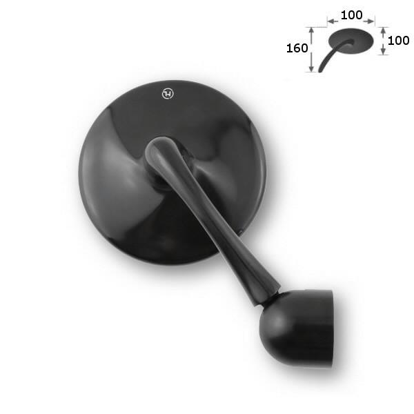 Zrcátko HIGHSIDER CLASSIC pravé/levé, do řídítek, hliníkové, černé, (1ks)