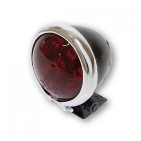 LED zadní světlo BATES STYLE černé s chromovaným kroužkem, bez osvětlení SPZ, Ø 57mm, červené sklo