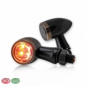 SMD LED blinkry JACK SMOKE se zadním světlem, hliníkové, černá / měď, kouřové sklo (pár - 2ks)