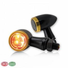 SMD LED blinkry JACK SMOKE se zadním světlem, hliníkové, černá / zlatá, kouřové sklo (pár - 2ks)
