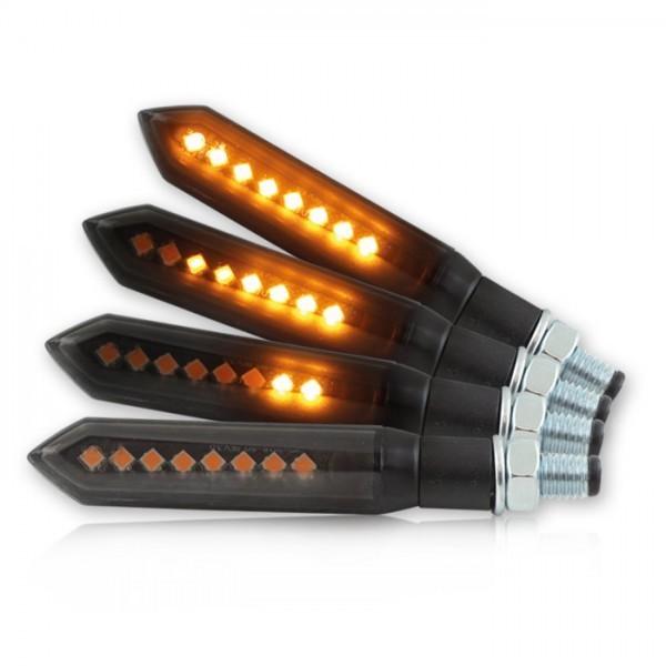 SMD LED blinkry FLOW SMOKE, sekvenční, hliníkové, černé (pár-2ks)
