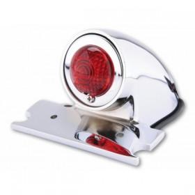 Zadní světlo SPARTO chromované, s držákem a osvětlením SPZ, Ø 40 mm