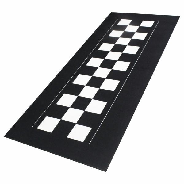 Šachovnice koberec pod motocykl, 190 x 80 cm, barva černobílá